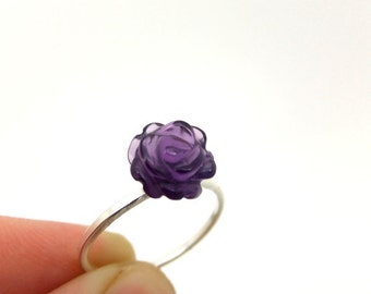 Amethyst Ring, February Birthstone Ring, Amethyst Flower Ring, Rose Ring, Purple Stone Ring, Purple Jewel Ring, Solitaire Ring, Purple Rose