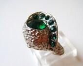 Vintage Green Rhinestone Ring