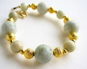 Pale Green Stone and Gold Beads Handmade Bracelet