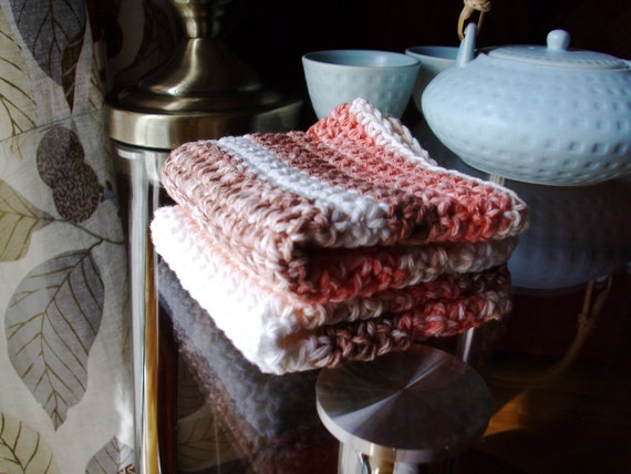crochet dish rags-100% cotton wash cloths-eclectic dish rags