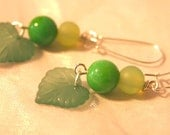 Semi Precious Jade, Lucite and Seaglass Earrings - Sweet Pea