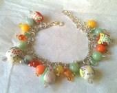 Handmade Lampwork Owls & Semi Precious Gems cute Bracelet - WOWS Owls