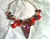 Red Swarovski Necklace, Semi Precious Gems & Heart Charms - The Kiki