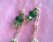 Green Swarovski and Lampwork Dangle Earrings - Go Green