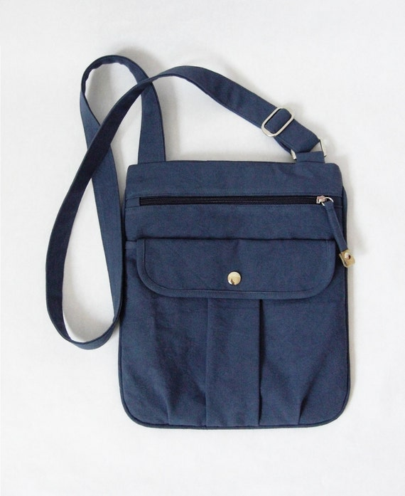 20% DISCOUNT-Organic and Fair Trade Cotton Canvas Cleis Body Cross Bag in Navy Blue