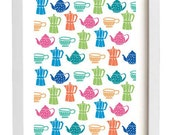 Kitchen Print SALE - Coffee or Tea Pattern - high quality fine art print