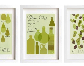 sale - OLIVE OIL Print set - 3 prints /  fine art giclée prints
