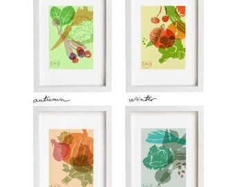 art for kitchen eat seasonal print set 4 seasons wall decor set of 4 prints fine art giclee prints anatomy eat kitchen