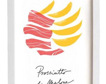 Italian Food Print Prosciutto e Melone / high quality fine art print