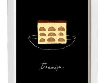 "Black Dessert Illustration Tiramisu Kitchen Wall Art 11""x15"" -  archival fine art giclée print"