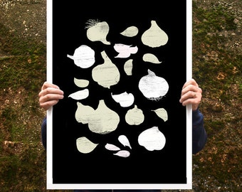 "Garlic Poster print 20""x27"" Food illustration - archival fine art giclée print"
