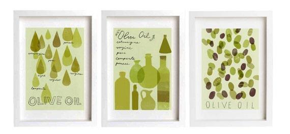 sale - OLIVE OIL Print set - 3 prints /  fine art giclée prints