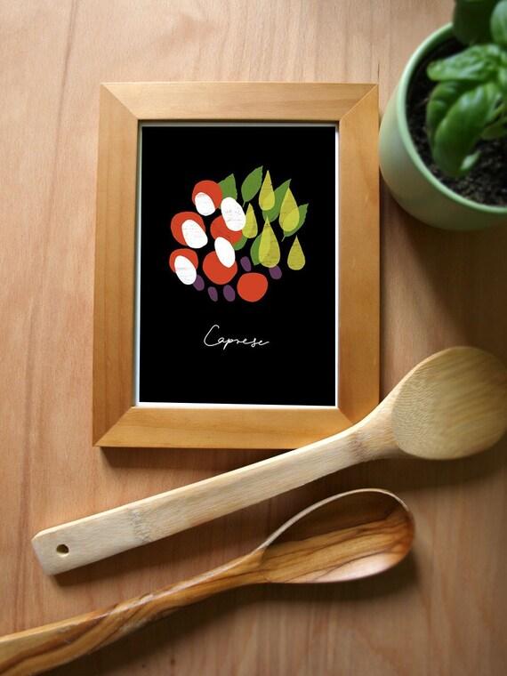 Food Art print Italian Insalata Caprese BLACK / high quality fine art print