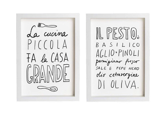 "Italy PESTO and LA CUCINA Print Set 11""x15"", Hand-lettered typography art italian kitchen italy quote - archival fine art giclée prints"