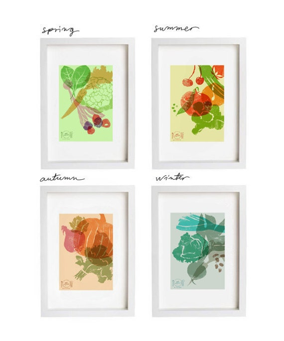 Kitchen Poster Food As Alphabet With Food Name: Art For Kitchen Eat Seasonal Print Set / 4 Seasons Wall Decor