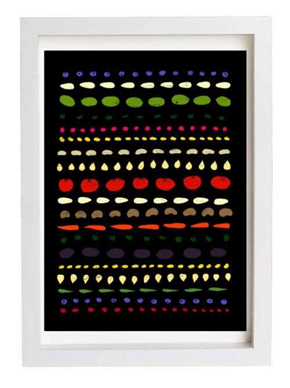 "Autumn Food pattern - Fall Kitchen Art  11""x15 Black - archival fine art giclée print"