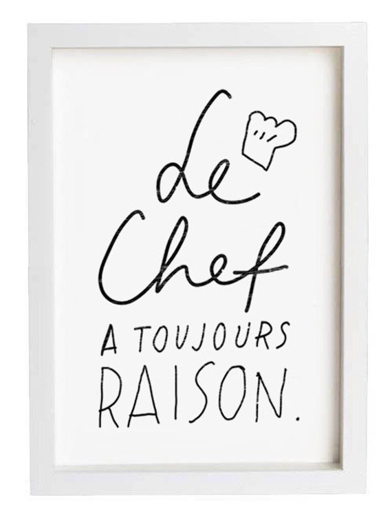 "French Kitchen Art - Le Chef - 11""x15"" - archival fine art giclée print"