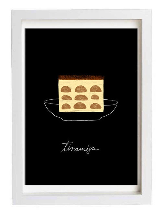 "Black Dessert Illustration Tiramisu Kitchen Wall Art 11""x15"" -  archival fine art giclée print"
