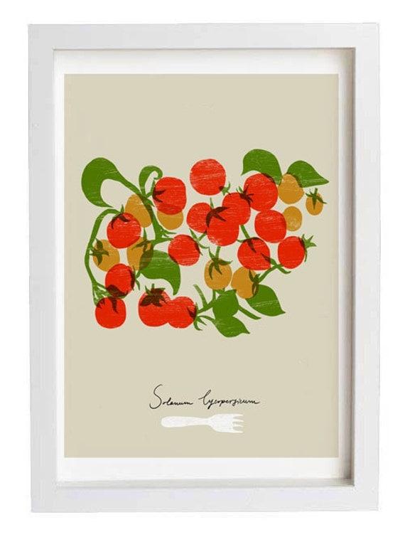 "Cherry tomatoes Kitchen Art Print  11""x15"" - archival fine art giclée print"