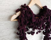 Soft Deep Purple Shining POMPON Scarf - Very Soft Neckwarmer, cowl, necktie, mom, winter accessories, modern