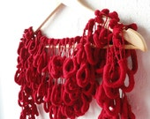 Love Actually - Red Cozy Soft Curly Mulberry Long Scarf for cold winter days, deep red,  gift for her dreamt fresht