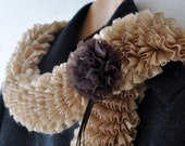 Champagne Ruffle Curly Scarf Cowl Neckwarmer for Modern Women dreamt fresht teamspirit