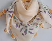 Peach Vintage Cotton Scarf, oya, yemeni, cowl, neckwarmer, floral