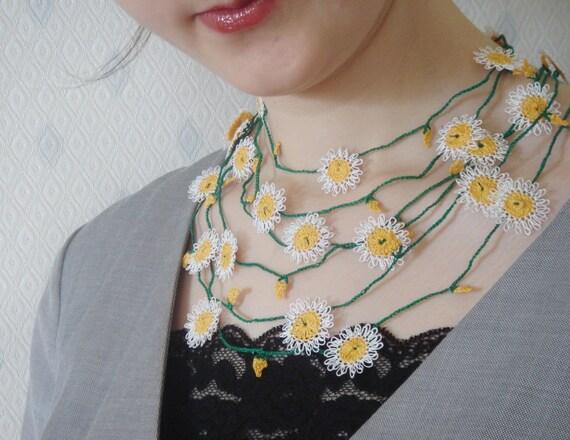 White Daisy Oya Lace Necklace and Bracelet - Handmade Needle Oya Lace Necklace - The Mysterious Language Of Turkish Oya Lace