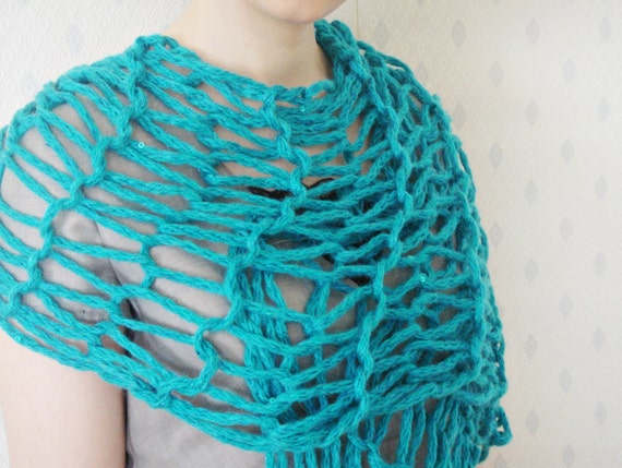 Handmade Turquoise Mohair Scarf Has Turquoise Sequin Details and Black Ribbon for Spring Days