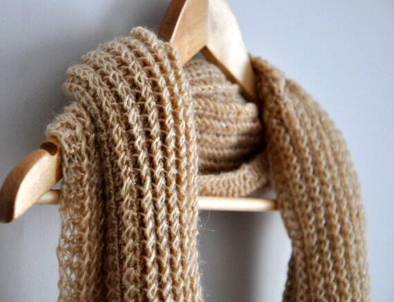 Rustic Ecru Tan Loop Scarf - Infinity Knit Scarf Mohair Sparkle Double Wrap dreamt fresht teamspirit