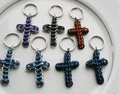 Reserved For -- leighoatman -- Chainmaille key Chains - 7 Key Chain Pendant Crosses