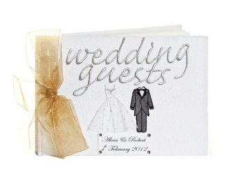 Large Personalised Bride and Groom Wedding Guest Book