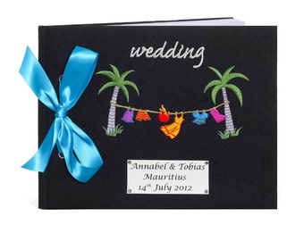 Personalised Tropical Washing Line Wedding Guest Book