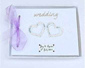 Personalised Sequinned Hearts Wedding Guest Book