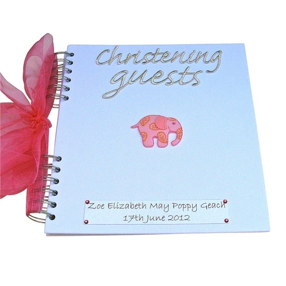 Personalised Elephant Christening Guest Book