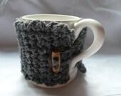 crochet mug cosy grey  with wood button  uk seller