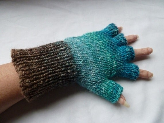 fingerless gloves with  silk mohair wool uk seller