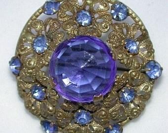 FABULOUS transitional \/ art deco brass filigree and sapphire rhinestones brooch