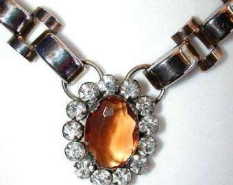 UNUSUAL retro 40s amber and clear rhinestones choker