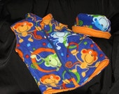 Baby Toddler Crazy Monkey Fleece Boaters Hat with matching Fleece Vest