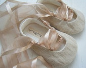 Organic Baby Ballet Shoes, Khaki Beige Hemp Linen, Natural Baby Girl , Toddler Flats, Bobka Shoes by BobkaBaby