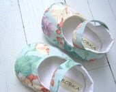 Mint Green Floral Mary Jane Shoes For Your Baby Girl