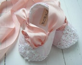 Pink Baby Shoes, Baby Ballet Shoes, Toddler Flats,Fairytale Princess Pink Lace, Bobka Shoes by BobkaBaby