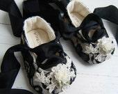 Organic Ballet Shoes,Baby Girl Shoes, Flower Girl Flats, Black Lace Ballet, Bobka Shoes, Charlotte  by BobkaBaby