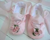 Pink Ballet Shoes, Baby Girl Shoes, Toddler Ballet Flats, Satin Roses, Bobka Shoes by BobkaBaby