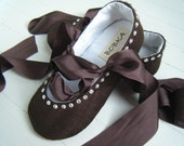 Baby Ballet Shoes, Chocolate Fudge Silk, Flower Girl Flats,Toddler Ballet Slippers, Bobka Shoes by BobkaBaby