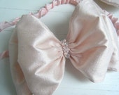 Pink Baby Headband, Flower Girl Headband, Silk Bow Cinderella by BobkaBaby