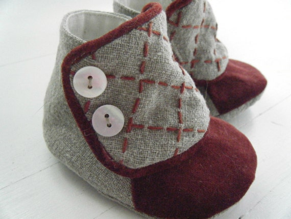 Organic Hemp and Rust Velvet Victorian Style Boot for Your Baby