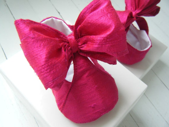 Baby Girl Shoes,Toddler Mary Jane, Handmade Silk, Newborn Gift,Christening Shoes By Bobka Baby