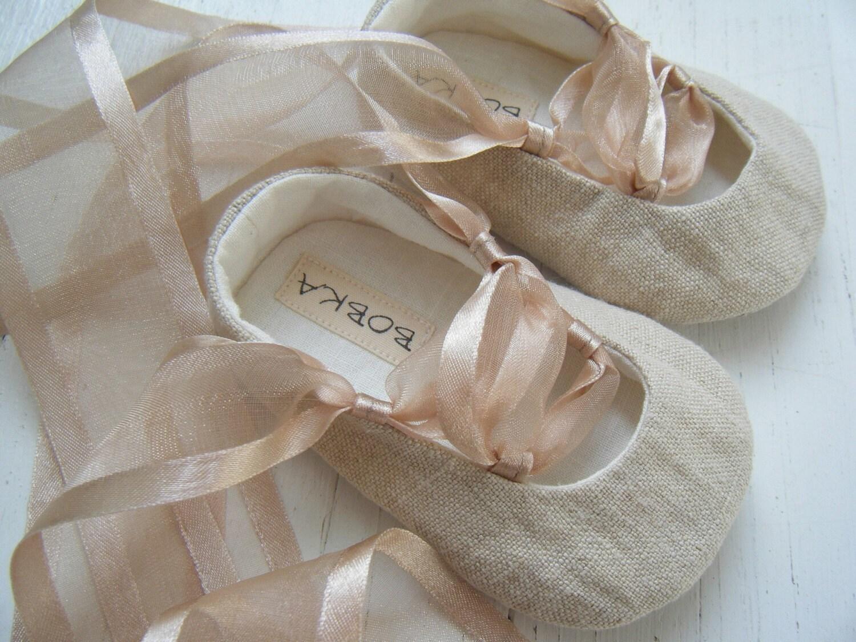 Organic Baby Ballet Shoes Khaki Beige Hemp Linen Natural